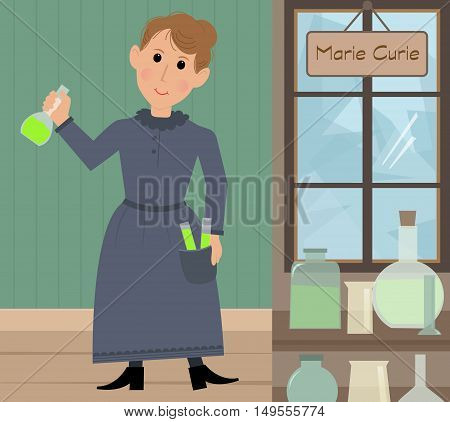 Cute cartoon of Marie Curie in her lab holding a test tube with radium. Eps10