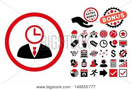 Time Manager icon with bonus symbols. Glyph illustration style is flat iconic bicolor symbols, intensive red and black colors, white background.