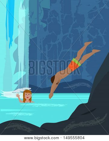 Man and a woman are having fun in a pool near a waterfall. Eps10