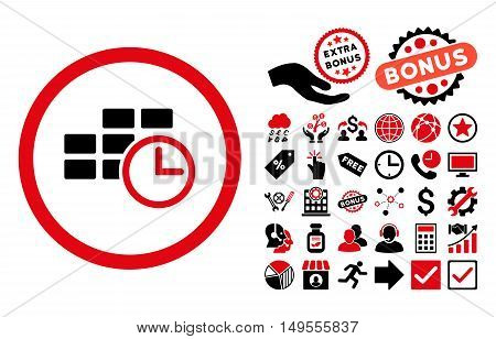 Time Table pictograph with bonus pictogram. Glyph illustration style is flat iconic bicolor symbols, intensive red and black colors, white background.