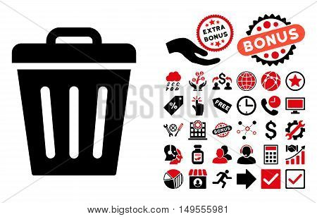 Trash Can icon with bonus symbols. Glyph illustration style is flat iconic bicolor symbols, intensive red and black colors, white background.