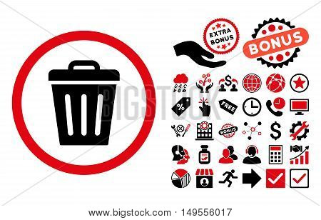 Trash Can icon with bonus pictures. Glyph illustration style is flat iconic bicolor symbols, intensive red and black colors, white background.