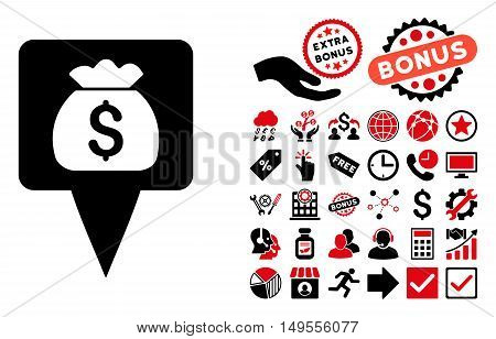Treasure Map Pointer icon with bonus pictograph collection. Glyph illustration style is flat iconic bicolor symbols, intensive red and black colors, white background.