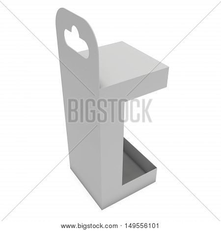 White paper hanging open box. Packaging container with hanging hole. Mock up template. 3d render isolated on white background.