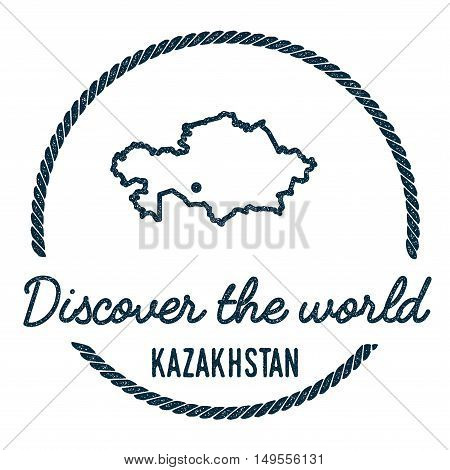 Kazakhstan Map Outline. Vintage Discover The World Rubber Stamp With Kazakhstan Map. Hipster Style N