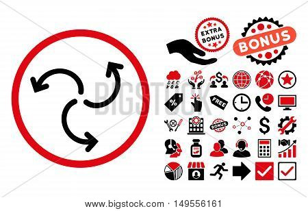 Turbine Rotation icon with bonus elements. Glyph illustration style is flat iconic bicolor symbols, intensive red and black colors, white background.
