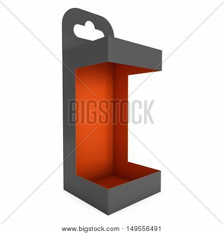 Black paper hanging open box. Packaging container with hanging hole. Mock up template. 3d render isolated on white background.