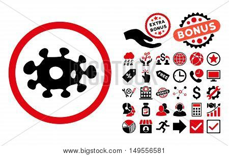 Virus pictograph with bonus icon set. Glyph illustration style is flat iconic bicolor symbols, intensive red and black colors, white background.