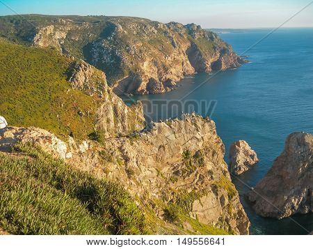 Coast of Cabo da Roca most western part of Europe Portugal