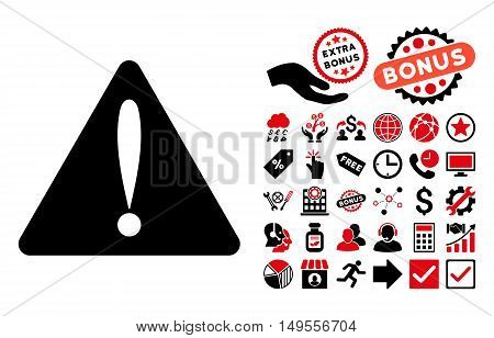 Warning Error pictograph with bonus pictogram. Glyph illustration style is flat iconic bicolor symbols, intensive red and black colors, white background.