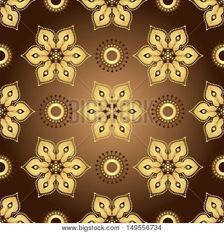 Vintage brown seamless pattern with gradient golden flowers vector