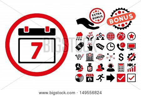 Week icon with bonus elements. Glyph illustration style is flat iconic bicolor symbols, intensive red and black colors, white background.