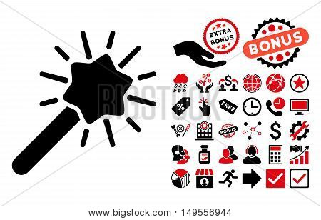 Wizard Tool icon with bonus icon set. Glyph illustration style is flat iconic bicolor symbols, intensive red and black colors, white background.