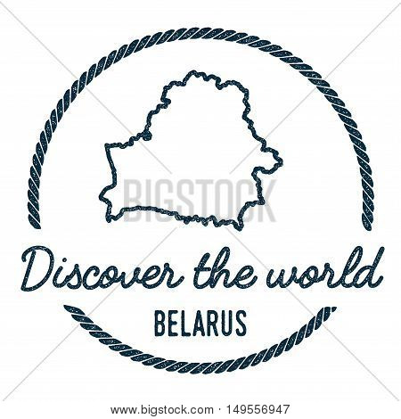 Belarus Map Outline. Vintage Discover The World Rubber Stamp With Belarus Map. Hipster Style Nautica