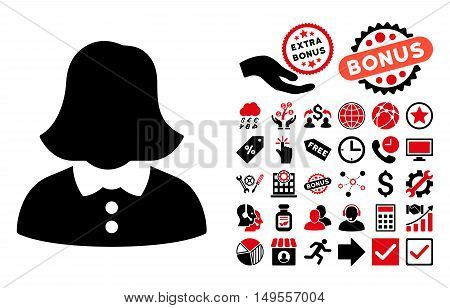 Woman icon with bonus pictograph collection. Glyph illustration style is flat iconic bicolor symbols, intensive red and black colors, white background.