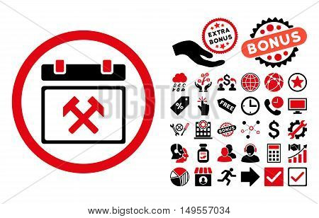 Working Calendar Day icon with bonus pictograph collection. Glyph illustration style is flat iconic bicolor symbols, intensive red and black colors, white background.