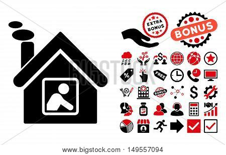 Workshop Building pictograph with bonus icon set. Glyph illustration style is flat iconic bicolor symbols, intensive red and black colors, white background.