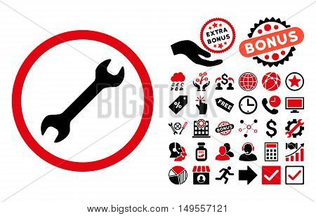Wrench icon with bonus images. Glyph illustration style is flat iconic bicolor symbols, intensive red and black colors, white background.
