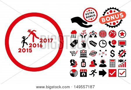 Years Guys Help pictograph with bonus pictures. Glyph illustration style is flat iconic bicolor symbols, intensive red and black colors, white background.