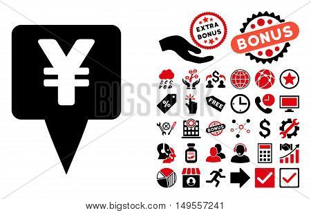 Yen Map Pointer pictograph with bonus pictograph collection. Glyph illustration style is flat iconic bicolor symbols, intensive red and black colors, white background.