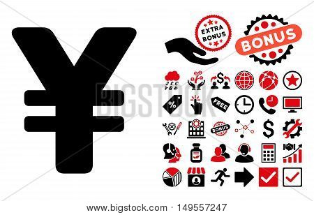 Yen pictograph with bonus symbols. Glyph illustration style is flat iconic bicolor symbols, intensive red and black colors, white background.