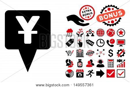 Yuan Map Pointer pictograph with bonus images. Glyph illustration style is flat iconic bicolor symbols, intensive red and black colors, white background.