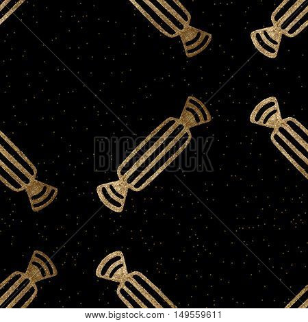 Abstract candy seamless pattern. Vector gold on black background.