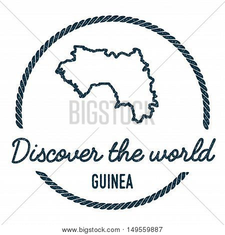 Guinea Map Outline. Vintage Discover The World Rubber Stamp With Guinea Map. Hipster Style Nautical