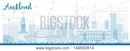 Outline Auckland Skyline with Blue Buildings. Business Travel and Tourism Concept with Modern Buildings. Image for Presentation Banner Placard and Web Site.