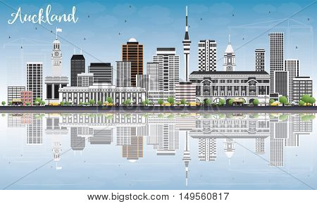 Auckland Skyline with Gray Buildings, Blue Sky and Reflections. Business Travel and Tourism Concept with Modern Buildings. Image for Presentation Banner Placard and Web Site.