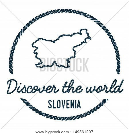 Slovenia Map Outline. Vintage Discover The World Rubber Stamp With Slovenia Map. Hipster Style Nauti