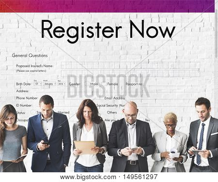 Register Now Application Information Concept