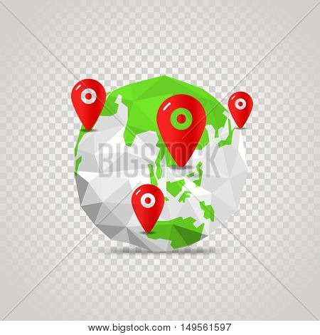 The Earth with abstract World map. Infographic template with pins on transparent 