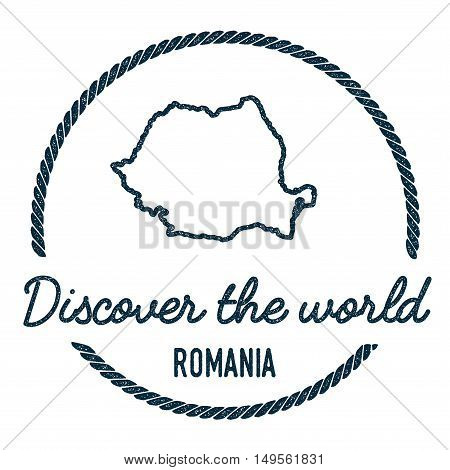 Romania Map Outline. Vintage Discover The World Rubber Stamp With Romania Map. Hipster Style Nautica