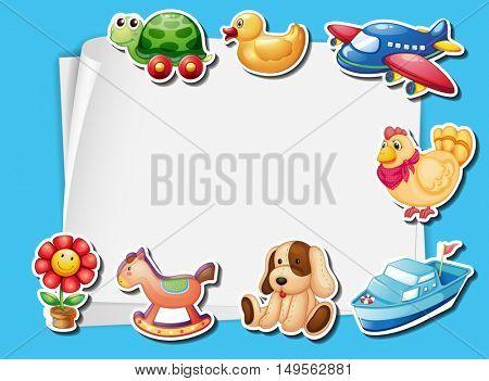 Frame design with many toys background illustration