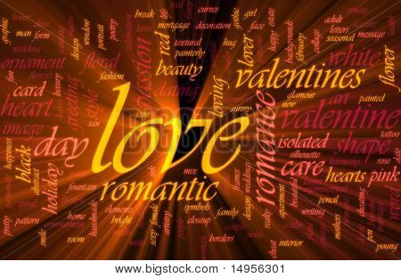 Word cloud concept illustration of love romance glowing light effect