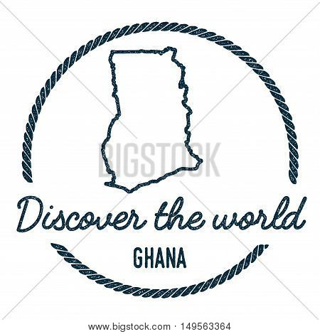 Ghana Map Outline. Vintage Discover The World Rubber Stamp With Ghana Map. Hipster Style Nautical Ru
