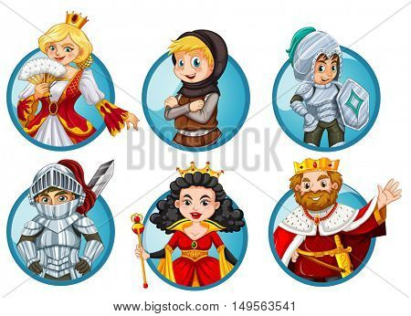 Different fairytales characters on round badge illustration
