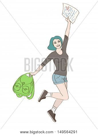 Happy Student Girl Jumps With A+ Graded Paper Test In Her Hand