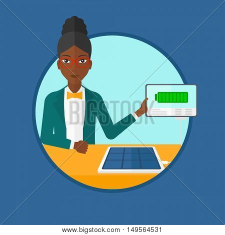 An african-american young smiling woman charging tablet computer with solar panel. Charging tablet from portable solar panel. Vector flat design illustration in the circle isolated on background.