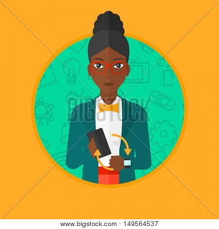 An african woman holding a smartphone and wearing on wrist her smart watch. Synchronization between smart watch and smart phone. Vector flat design illustration in the circle isolated on background.