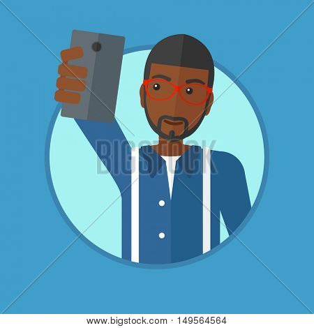 An african-american man making selfie. Young man taking photo with cellphone. Smiling man looking at smartphone and taking selfie. Vector flat design illustration in the circle isolated on background.