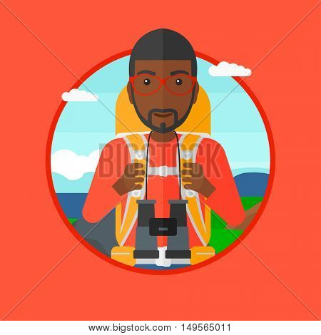 An african-american man walking in the mountains. Male traveler with backpack and binoculars. Backpacker hiking in mountains. Vector flat design illustration in the circle isolated on background.