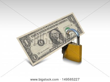 Money Security E-commerce, Dollar and lock on white