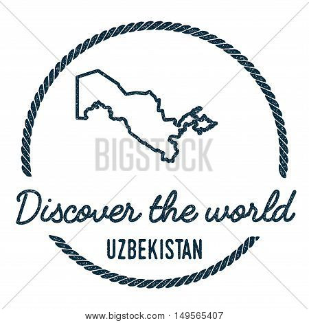 Uzbekistan Map Outline. Vintage Discover The World Rubber Stamp With Uzbekistan Map. Hipster Style N