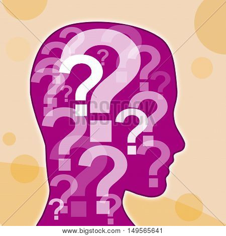 question mark in the purple head, illustration