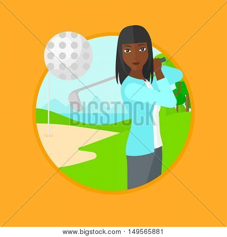An african-american female golfer hitting the ball. Professional female golfer on golf course. Young woman playing golf. Vector flat design illustration in the circle isolated on background.