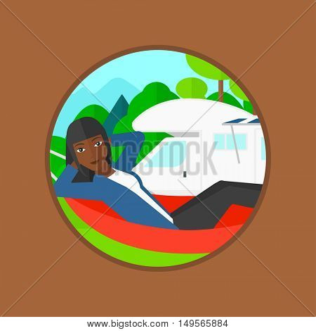 An african-american woman lying in a hammock in front of motor home. Woman resting in hammock and enjoying vacation in camper van. Vector flat design illustration in the circle isolated on background.