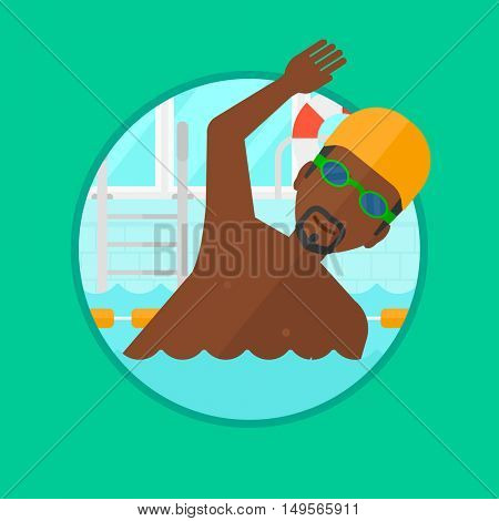 An african-american young sportsman in swimming cap and glasses swimming in pool. Professional male swimmer in swimming pool. Vector flat design illustration in the circle isolated on background.