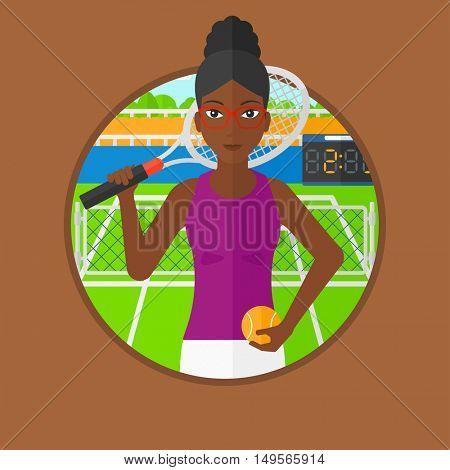 An african-american tennis player standing on tennis court. Tennis player holding a tennis racket and a ball. Woman playing tennis. Vector flat design illustration in the circle isolated on background